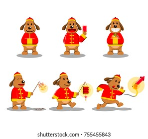 Vector dog cartoon character for Chinese new year theme