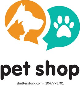 Vector DOG CAT PET SHOP SIMPLE LOGO ICON SYMBOL TEMPLATE logo design template for pet shops, veterinary clinics and homeless animals shelters - icons of cats and dogs - badges for websites and prints