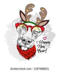 Vector dog with christmas horns of a deer. Hand drawn illustration of dressed doggy with red glasses. Happy New Year. 2