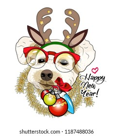 Vector dog with christmas horns of a deer. Hand drawn illustration of dressed doggy with red glasses. Happy New Year. 1