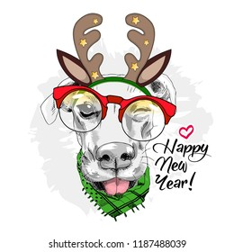 Vector dog with christmas horns of a deer. Hand drawn illustration of dressed doggy with red glasses. Happy New Year. 3