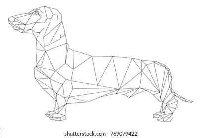 Vector - dog  dachshund animal geometric isolatet on background