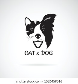 Vector of dog face (Border collie) and cat face on a white background. Pet. Animal. Dog and cat logo or icon. Easy editable layered vector illustration.