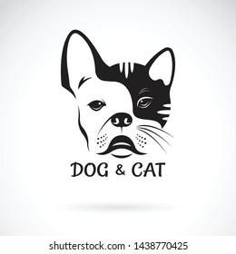 Vector of dog face (ฺbulldog) and cat face design on a white background. Pet. Animal. Dog and cat logo or icon. Easy editable layered vector illustration.