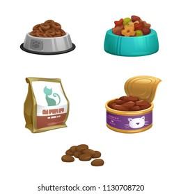 vector dog food, cat food, bowl, mountain feed,