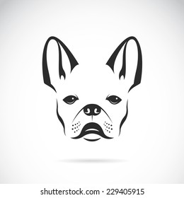 Vector of a dog head design (bulldog) on white background. Pet. Animal. Easy editable layered vector illustration.
