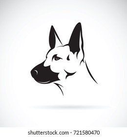 Vector of dog head (German shepherd) on white background, Pet. Animals.