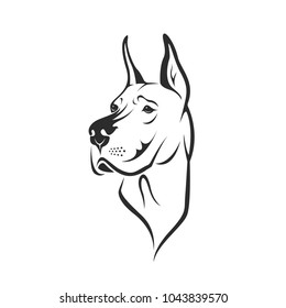 Vector of a dog head (Great Dane or German Mastiff or Danish Hound) on white background. Pet. Animal. Easy editable layered vector illustration.