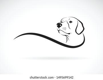 Vector of a dog head( Labrador Retriever) on white background., Pet. Animals. Dogs logo or icon.