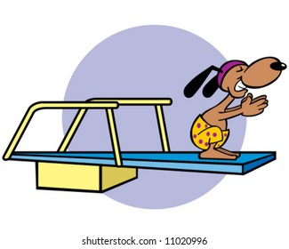 vector of dog on diving board, concept of diving in on a new project or relationship