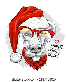 Vector dog - santa claus in a red cap  and red scarf. Hand drawn illustration of dressed doggy. Happy New Year. 2