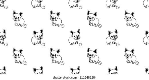 vector Dog seamless pattern french bulldog baseball repeat background tile cartoon wallpaper isolated