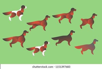 Vector dog set. English, Irish Setter. Cocker Spaniel. Cavalier King Charles Spaniel. Logo with a dog