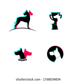 Vector dog shop logo design templates. Great Dane silhouette. Grooming for dogs. Glitch effect in the sign.