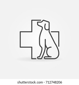 Vector dog with veterinary cross icon or symbol in thin line style