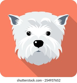 Vector dog West Highland White Terrier face icon flat design