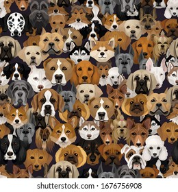 Vector dogs different breeds seamless pattern or wrapping paper dog background with husky, dalmatian, bulldog, schnuzer, spaniel and other breeds