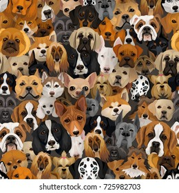 Vector dogs different breeds seamless pattern or wrapping paper 2018 year of dog background with husky, dalmatian, bulldog, schnuzer, spaniel and other breeds