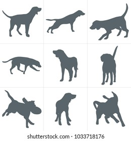 Vector dogs silhouettes. Set of dog silhouettes play and have fun outdoors