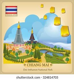Vector Doi Inthanon National Park Chiang Mai Thailand,Thailand Travel
