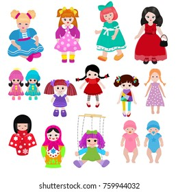 Vector doll toy cute girl female set illustration childhood baby dress face child beautiful dollhouse children baby toyhouse cartoon dollhouse isolated on white background