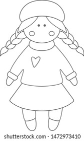 Vector doll. Toy, handmade, handmade, children's doll. Doll clothes, autumn sweater, boots, warm hat, buttons. Handmade girl.