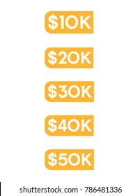 Vector dollar amount icon set