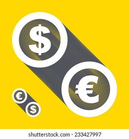 Vector dollar, euro icons. Signs set. Vector illustration.