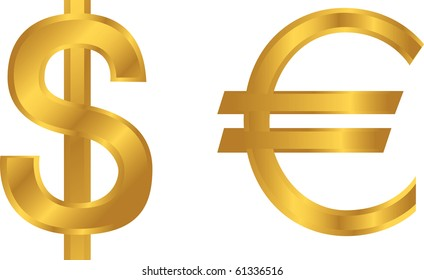Vector of dollar and euro signs