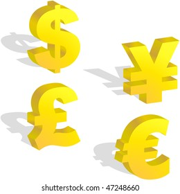 Vector dollar, euro, yen and pound signs.