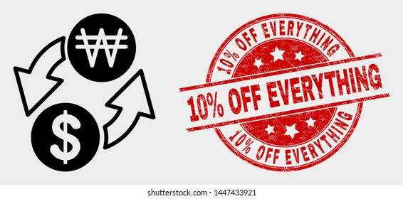 Vector dollar exchange korean won icon and 10% Off Everything seal stamp. Red rounded grunge seal stamp with 10% Off Everything caption.