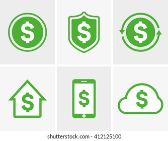 Vector dollar logo and icon  design elements, badges, labels.