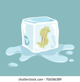 Vector of Dollar sign frozen in ice cube
