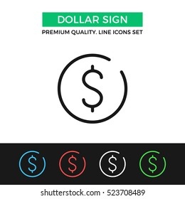 Vector dollar sign icon. Premium quality graphic design. Modern signs, outline symbols collection, simple thin line icons set for websites, web design, mobile app, infographics