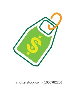 Vector Dollar tag sign, money dollar icon - dollar bill symbol