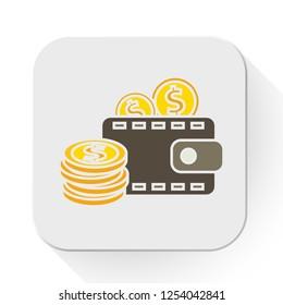 vector dollar wallet icon. Flat illustration of money. money dollar coins isolated on white background. saving money sign symbol