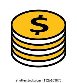 Vector Dollor Coins Icon