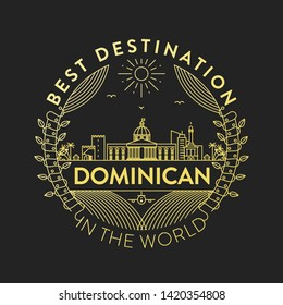 Vector Dominican City Badge, Linear Style