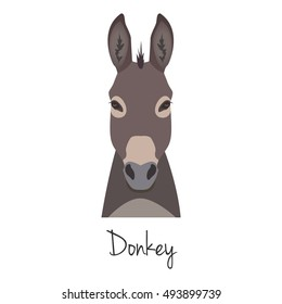 Vector donkey face isolated. Poster, banner, print advertisement, web design element. Livestock, cattle animals.