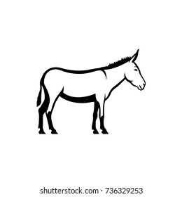 Vector donkey silhouette view side for retro logos, emblems, badges, labels template vintage design element. Isolated on white background