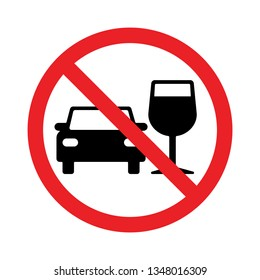 Vector don't drink and drive pictogram sign, Prohibition symbol, Simple flat design illustration