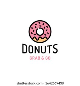 Vector donut logo template. Sweet tasty doughnut logotype background.  Line candy food label illustration. Glaze dessert sign for cafe, restaurant, stall. Grab and go concept.