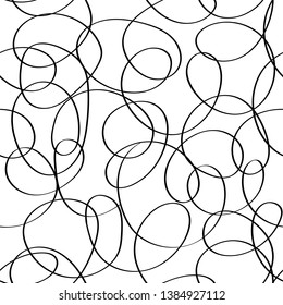 Vector doodle abstract seamless scribble background. Fantasy modern tangled pattern. Vibrant art chaos backdrop. Digital tortuous design. Creative tangled composition.