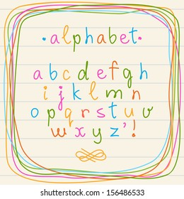 Vector doodle alphabet and frame. Hand drawn letters of alphabet in childish sketch style with border on sheet of notebook. Set of cute decorative design elements