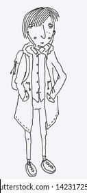 Vector doodle of an angry skinny tired teenage girl wearing an unbuttoned coat, skinny jeans and platform shoes