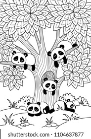 Vector doodle anti stress coloring book page cute pandas sleeping around tree. For adults and children.