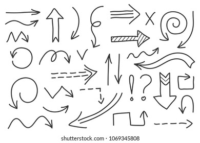Vector doodle arrow set 1. Isolated symbols, design elements. Hand drawn signs collection, black on white background