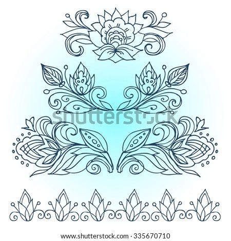 The Artwork Line Drawings Of Floral Ornament For Advertising Discounts Black Friday