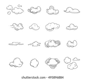 vector Doodle big set of Hand Drawn Clouds. Illustrations isolate on white background.
