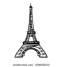 Vector doodle black Eifel Tower hand drawn landmark symbol of Paris, France. Great for french invitations, greeting cards, postcards, gifts.